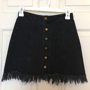 Forever 21 black button up denim skirt